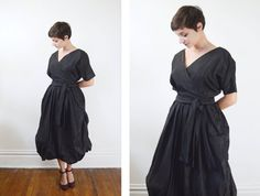 1950s Black Bubble Hem Cocktail Dress  S/M by LoveCharles on Etsy