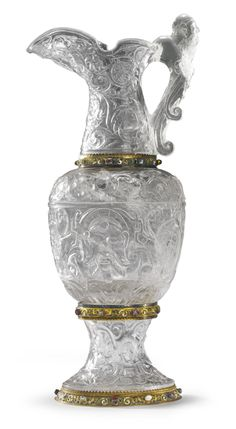 An Austrian Large rock crystal ewer mounted in gold, silver, enamel and jewels, Hermann Boehm, Vienna, Late 19th Century | lot | Sotheby's