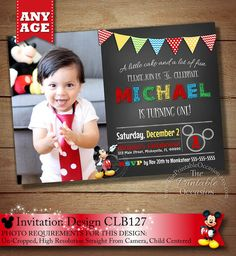 HUGE SELECTION Mickey Mouse Printable Invitation, Chalkboard Mickey Mouse Invitation, Chevron Mickey Invitations, Mickey Photo Invitation on Etsy, $10.00