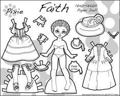 Link to Victoria, a Valentine's Day printable paper doll in black and white for coloring