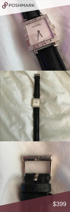 Authentic Tiffany & Co. Atlas Ladies Wrist Watch Authentic Tiffany & Co. Atlas Sterling Silver Ladies Watch. Roman Numeral Design Black Leather Wristband, Operative Battery + Recently Polished at Tiffanys. Good Condition, priced very competitively for purchase reasonable offers considered. Gorgeous Gift😻 Tiffany & Co. Accessories Watches
