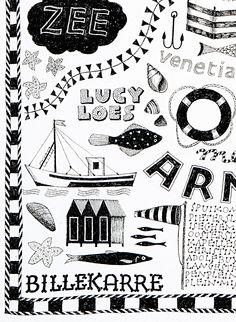 Oostende. handlettering illustration, by joke boudens   (detail) fineliner