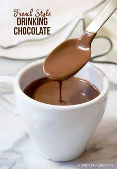French Hot Chocolate Recipe (Chocolat Chaud) Rich, dark, and silky, this Parisian style Drinking Chocolate, is a thick gourmet hot chocolate that is hard to French Hot Chocolate Recipe, Chocolate Chocolate, Gourmet Hot Chocolate Recipe, Chocolate Smoothies, Chocolate Shakeology, Best Hot Chocolate Recipes, Chocolate Roulade, Hot Chocolate Coffee, Chocolate Mouse