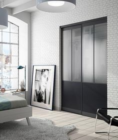 Amateur industrial style, create a dressing room in the room by installing these sliding doors way glass shop. With its black finish and large glass surfaces, this partition style studio artist will bring cachet in your interior. partition t rnrnSource by New Room, Closet Bedroom, Interior, Doors, Bedroom Design, Home Decor, Sliding Wardrobe Doors, Wardrobe Design Bedroom, Wood Doors