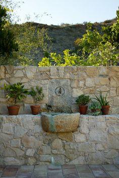 Exterior projects (Mediterranean Style) - mediterranean - Landscape - New York - Ancient Surfaces Water Features In The Garden, Garden Features, Fountain Design, Mediterranean Garden, Landscaping Tips, Small Gardens, Water Garden, Garden Projects, Garden Inspiration