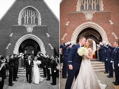 Dual Air Force Wedding by T.Y. Photography » Vows & Valor | The Military Wedding Blog, Langley Air Force Base Chapel, sword arch church exit