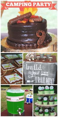 A camping themed boy birthday party with a chocolate cake and trail mix bar!  See more party ideas at CatchMyParty.com!
