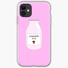Strawberry Milk, Stationary, Berries, Iphone Cases, Art Prints, Printed, Bottle, Awesome, Shirt