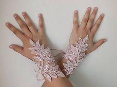 Wedding Bridal Glove, pink lace gloves, Fingerless Glove,