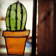 Stained glass cactus. #halonaglass #cactusmagazine @cactusmagazine