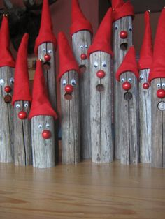 Christmas elfs made from old wooden hay pikes Handmade Christmas Crafts, Diy Christmas Decorations Easy, Christmas Ornament Crafts, Homemade Christmas, Rustic Christmas, Christmas Projects, Christmas Art, Holiday Crafts, Winter Wood Crafts