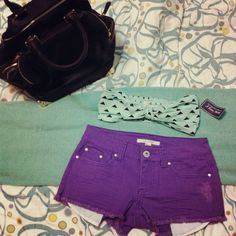 Forever 21 purchases: Alexander Wang inspired bag, mint geometric bandeau top, purple cut off denim shorts.