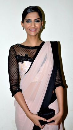 Love this pink and black saree and gorgeous blouse on Sonam Kapoor. Indian Celebrities, Bollywood Celebrities, Bollywood Fashion, Bollywood Actress, Ethnic Fashion, Asian Fashion, Indian Dresses, Indian Outfits, Cheongsam