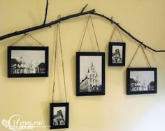 Tree branch for hanging picture frames. Could even go a step further & display branches of a family tree in a living room, den, or hallway. Photowall Ideas, Twig Crafts, Deco Cool, Exposition Photo, Do It Yourself Furniture, Deco Originale, Decoration Originale, Hanging Frames, Diy Hanging