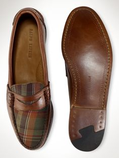 plaid and leather loafers