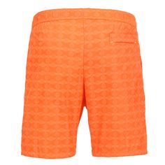 LIDO 2 MID-LENGHT BOARDSHORTS COLOR ORANGE Made in Italy light blue Jacquard nylon LIDO 2 mid-length boardshorts. Two front pockets and a small press stud pocket featuring an hexagonal metal decoration. Back pocket. Internal net. Elastic waistband with adjustable drawstring. COMPOSITION: 100% POLYAMIDE. Model wears size L he is 189 cm tall and weighs 86 Kg