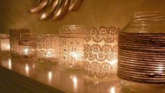 Wrap lace around an empty mason jar, put a candle inside, and voila! You have a romantic vintage votive!
