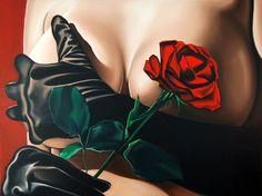 Drew Darcy 1976 | British Fashion Figurative painter | Lady in Red | TuttArt@ | Pittura * Scultura * Poesia * Musica |