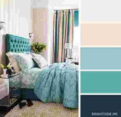 décoration d'une chambre beige et bleue