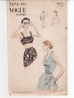 27b4e20bd2 Vintage Sewing Pattern 1950 s Beach Bra and Halter Top by Mrsdepew