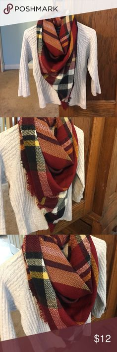 NWOT Maroon Plaid Blanket Scarf 1/2 the original! My blanket scarf was too big for me so I cut it in half! As you can see, there is still plenty to work with! Beautiful fall colors, maroon, navy, mustard yellow, and white. Accessories Scarves & Wraps