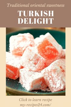 Turkish Delight - My favorite recipes Candy Recipes, Snack Recipes, Dessert Recipes, Snacks, My Favorite Food, Favorite Recipes, Turkish Sweets, Turkish Delight, Homemade Candies