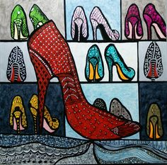If you're familiar with Sarah Jessica Parker's character from Sex and the City, Carrie Bradshaw, you'll understand the subject matter of this zentangle piece. It's all about the shoes. More specifical