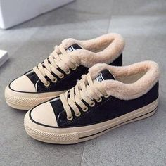 Shop Women Suede Furry Converse Lace Up High/Low Top Winter Sneakers at Chicmira. It is Casual Style and very warm in winter. The Colors are Black,Purple,Pink,Gray,Green. Full size available. Snow Sneakers, Sneakers Mode, Sneakers Fashion, Fashion Shoes, Winter Sneakers, Canvas Sneakers, Fashion Rings, Warm Boots, Snow Boots
