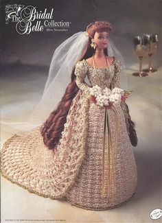 """The Bridal Belle Collection - Miss November - Annie's Attic Crochet Pattern Leaflet for 11 1/2"""" Fashion Doll New Condition"""