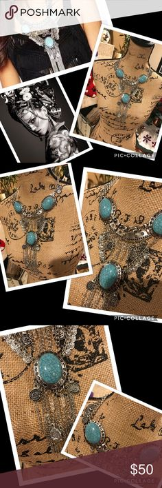 💋sale Boho tribal statement necklace Silver tones with faux turquoise. Vintage inspired piece. Very tribal. Large and creative. You will feel you're wearing this piece, but not overly heavy. Brand new, my Boutique brand. Brands that are similar to: urban outfitter, anthropologie, nasty gal, reformation, Zara, april spirit, rag & bone, Rebecca minkoff, for Love & Lemons, Cleobella, April, May, Free People, Raquel Allegra, Simone Camille, Tigerlily, Spell &a the Gypsy Collective, Stone Cold…