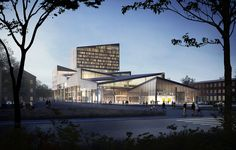 """Team of Young Architects Propose """"House of Opportunity"""" for Cultural Center in Skellefteå, Sweden,Exterior Perspective. Visualization by Sang Yeun Lee. Image Courtesy of Hanna Johansson, Juras Lasovsky and Filip Lipinski"""
