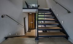 spotlights on modern staircase