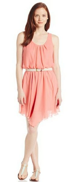 As U Wish Women's Chiffon Pleated Front Dress with Belt
