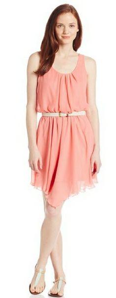As U Wish Women's Chiffon Pleated Front Dress with Belt