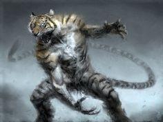 ArtStation - Chinese Zodiac - Year of the Tiger, Damon Hellandbrand Tiger Drawing, Tiger Art, Fantasy Creatures, Mythical Creatures, Dark Fantasy, Fantasy Art, Bastet, Year Of The Tiger, Zodiac Years
