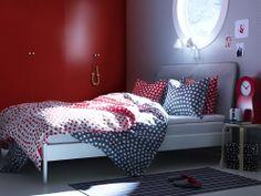 Ikea Bedroom Trends – Pola Dots Ikea Bed and Bed Linen, Scandinavian White #Ikea #Bedroom