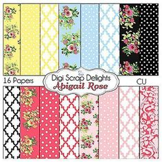 Vintage Rose Scrapbook Paper Bundle Cath by DigiScrapDelights