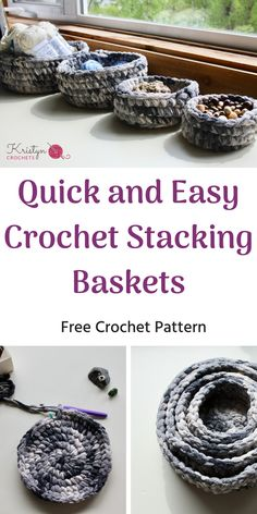 Learn how to crochet these quick and easy stacking baskets. Free Crochet Pattern Made with Bernat Blanket yarn, using 2 strands together for extra durability. This is a great pattern for beginners. Easy Crochet Patterns, Free Crochet, Crochet Ideas, Knitting Patterns, Diy Crochet Basket, Crochet Bags, Bernat Baby Yarn, Crochet For Beginners Blanket, Crochet Decoration