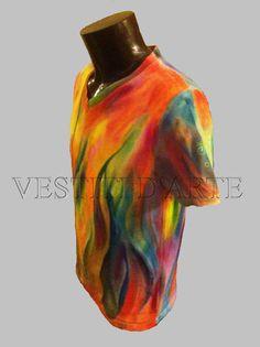Real hand painted boho clothing MENS TSHIRT ML by Vestitidarte