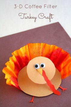 3-D coffee filter turkey craft for kids - fun Thanksgiving craft, would be a cute preschool or kindergarten project