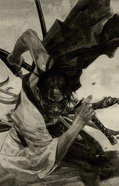 Hiroaki Samura/沙村 広明 — Blade of the Immortal/無限の住人 Illustration Ronin Samurai, Samurai Warrior, Japanese Culture, Japanese Art, Japanese Travel, Character Art, Character Design, Art Asiatique, Samurai Tattoo