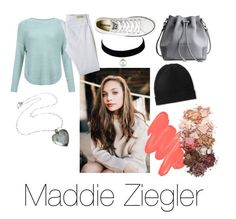 """""""Maddie Ziegler"""" by tealfeels4 ❤ liked on Polyvore featuring JDY, AG Adriano Goldschmied, Converse, Madeleine Thompson, Obsessive Compulsive Cosmetics and Sigma"""