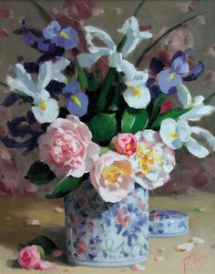 Patricia Moran - List All Works dutch iris and camellias white blue pink yellow