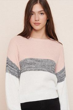 54a61ce0d2f56 Colourblock Crew Neck Sweater Cute Sweaters