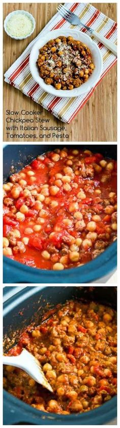 Slow Cooker Chickpea Stew with Italian Sausage, Tomatoes, and Pesto from Kalyn's Kitchen; it's the pesto stirred at the end of the cooking time that really puts this slow cooker stew over the top. If you're not a fan of chickpeas I'd recommend Cannellini Beans instead. [Featured on SlowCookerFromScratch.com]