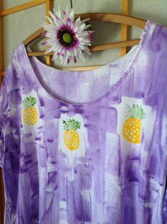 Kauai, Hawaii Hand Painted Women's Cotton A Line Play Dress Lei Design - size S - 3X, tank or short sleeved.