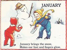 """JANUARY - The Bumper Book; """"A bumper crop of good stories and poems to grow on"""" Illustrated by Eulalie Edited by Watty Piper 1946 Vintage Children's Books, Vintage Cards, Poetry For Kids, Rhymes For Kids, Children Rhymes, Kids Poems, Calendar Girls, January Calendar, Children Images"""