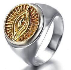 Free Shipping! Men's Stainless Steel All-seeing Eye Ring