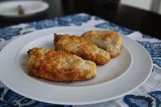 Baked Coconut Crusted PorkChops. These are great. Check them at the lower end of the baking time. I accidentally overcooked mine! Make sure you drench completely in the egg mixture.