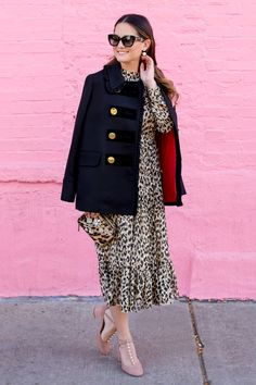 Leopard Ruffle Midi Dress